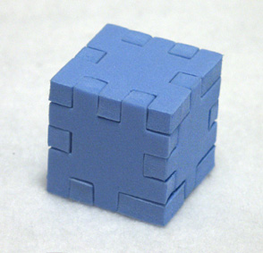 assembled blue happy cube